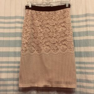 BOGO H&M lace patterned blush pink knit skirt